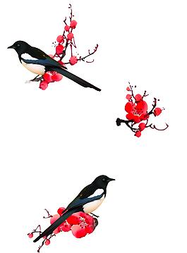 中國風喜鵲梅花古典裝飾元素
