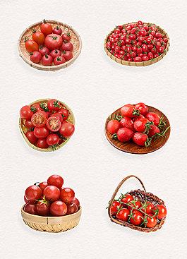 高清籃子里的新鮮蔬菜圣女果免扣素材