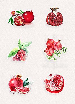 小清新手绘红石榴水果素材