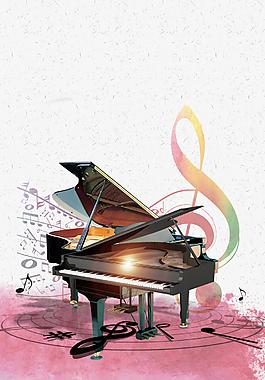 音乐梦想钢琴培训海报背景