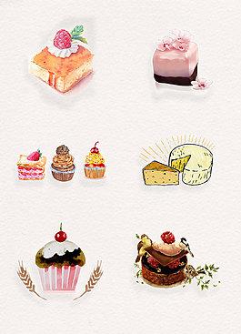 手绘蛋糕甜点png免抠图