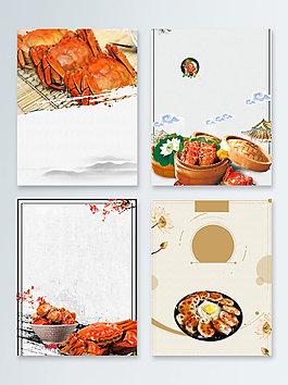 傳統灰色螃蟹中秋節促銷廣告背景圖