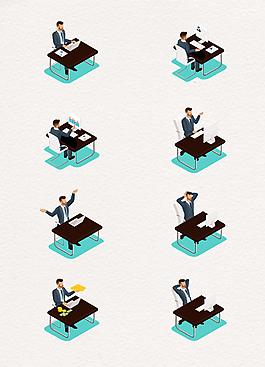 2.5D矢量办公桌和男性上班族场景设计