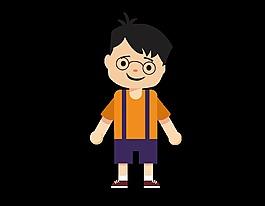 卡通可愛眼鏡男孩元素