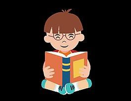 卡通可愛學習書籍元素