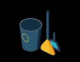 卡通工具垃圾箱元素