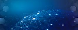 科技炫光地球儀藍色banner背景