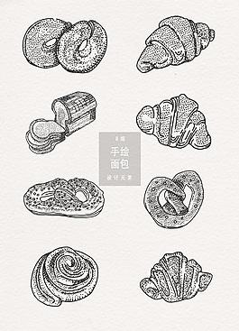 手繪面包設計元素