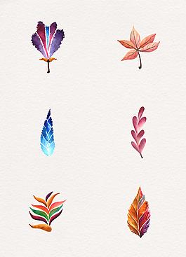 水彩繪秋天葉子設計元素