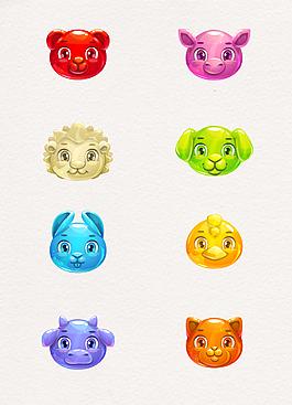 8組彩色手繪動物頭像設計元素