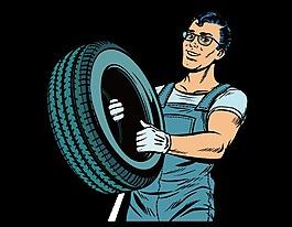 手绘搬轮胎元素