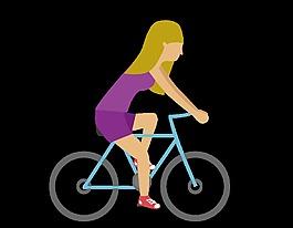 卡通單車騎行元素