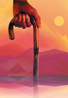 手持寡仗重阳节登山背景素材