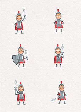 卡通可爱骑士动作矢量素材