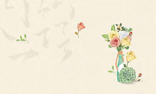 中式插花背景