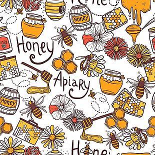 蜜蜂矢量無縫圖案圖片