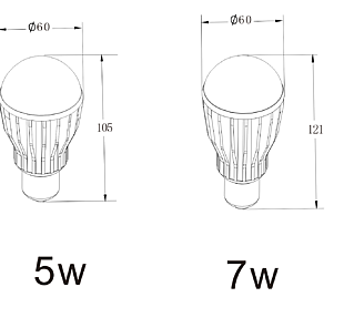 5w7w球泡燈平面圖