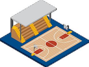 卡通篮球场免抠元素