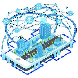 2.5D科技互聯網創意設計手機城市建筑