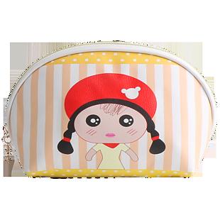 黄色条纹PU防水化妆包