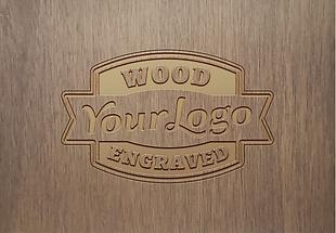 木刻英文LOGO样机