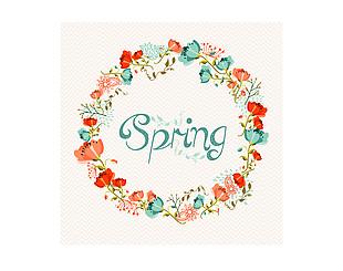 春季水彩花環矢量素材
