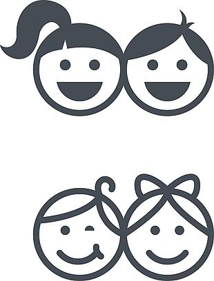 2款儿童头像标志矢量素材