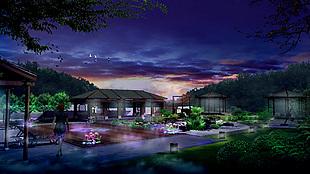 别墅园林夜景