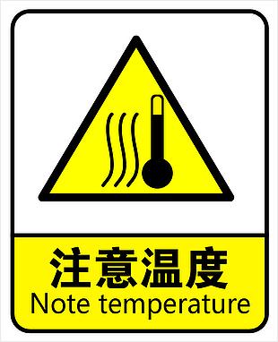 警示牌注意温度
