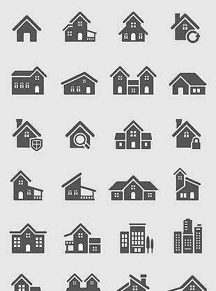 矢量房屋楼房商场图标标志