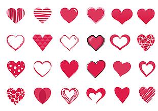 矢量心形心爱心图标