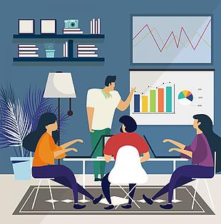创意会议中的商务团队矢量图