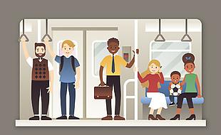 创意乘坐地铁的人物矢量素材