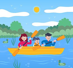 创意湖上划船的三口之家矢量素材