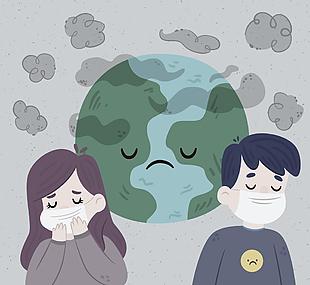 创意环境污染的地球和人物矢量图