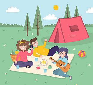 创意郊外野餐人物设计矢量素材