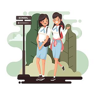 创意上学的2个女学生矢量素材