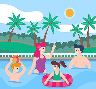 创意游泳池玩耍人物矢量素材