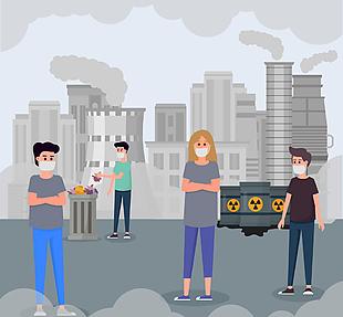 创意城市环境污染插画矢量素材