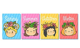 4款创意四季女孩头像卡片矢量图