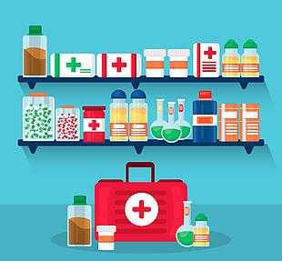 创意医药架子和医疗箱矢量图