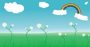 风景彩虹蓝天白云草地