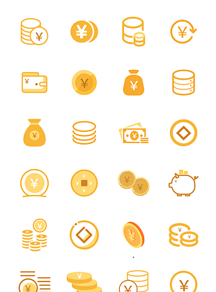 線性金幣矢量圖標icon