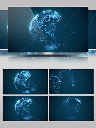 4K酷炫蓝色地球后期PPT背景素材视频