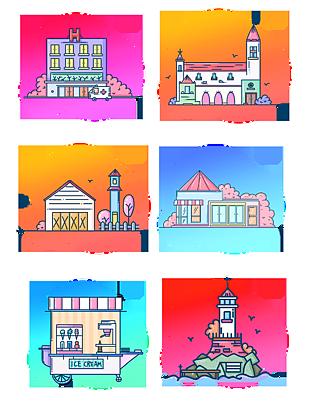 手繪建筑圖標設計元素合集