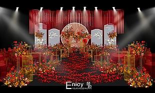 紅色中式婚禮效果圖