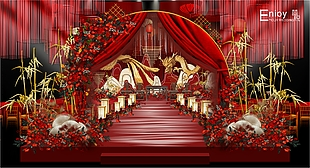 紅色中式龍鳳婚禮效果圖