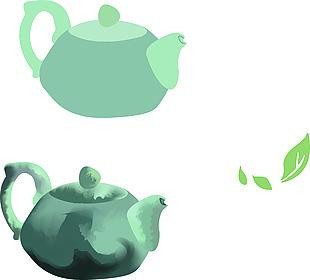 茶壺茶葉矢量