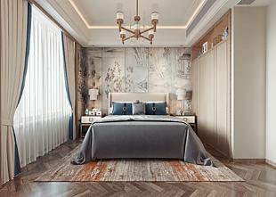 新中式臥室家裝效果圖