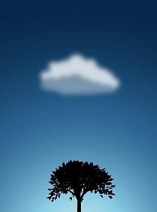 蓝色白云独树